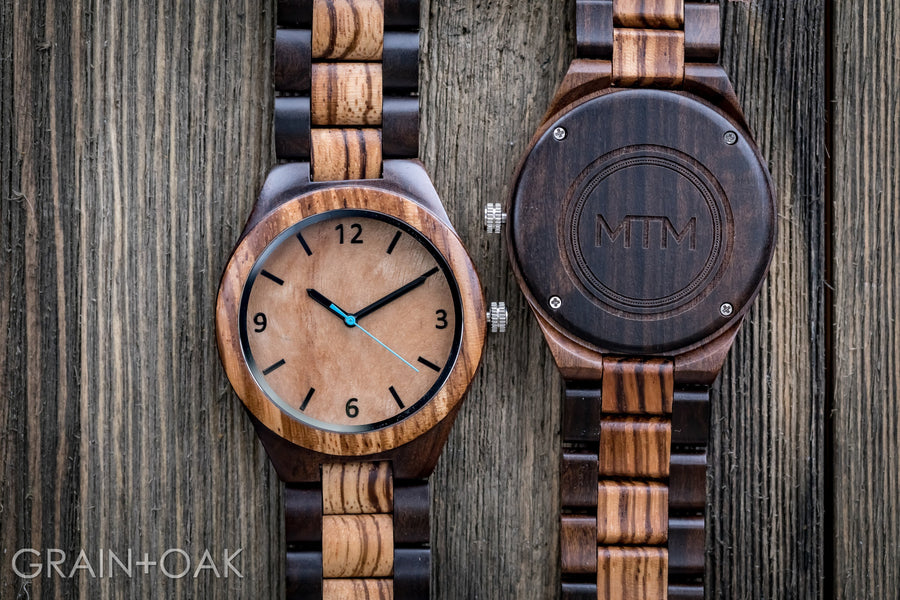 The Olive Blue | Set of 4 Groomsmen Watches Grain and Oak