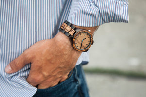 The Olive Blue | Wood Watches Wooden Band Watches Grain and Oak