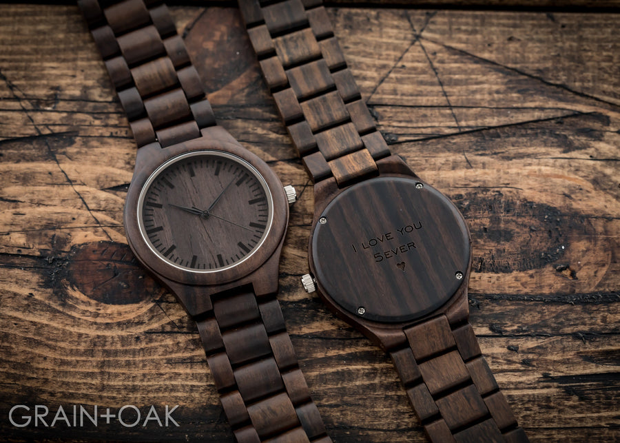 The Ridge Ebony | Set of 6 Groomsmen Watches Grain and Oak