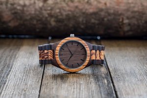 The Ridge Zebrawood + Ebony | Set of 5 Groomsmen Watches Grain and Oak