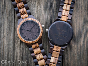 The Ridge Zebrawood + Ebony | Set of 8 Groomsmen Watches Grain and Oak