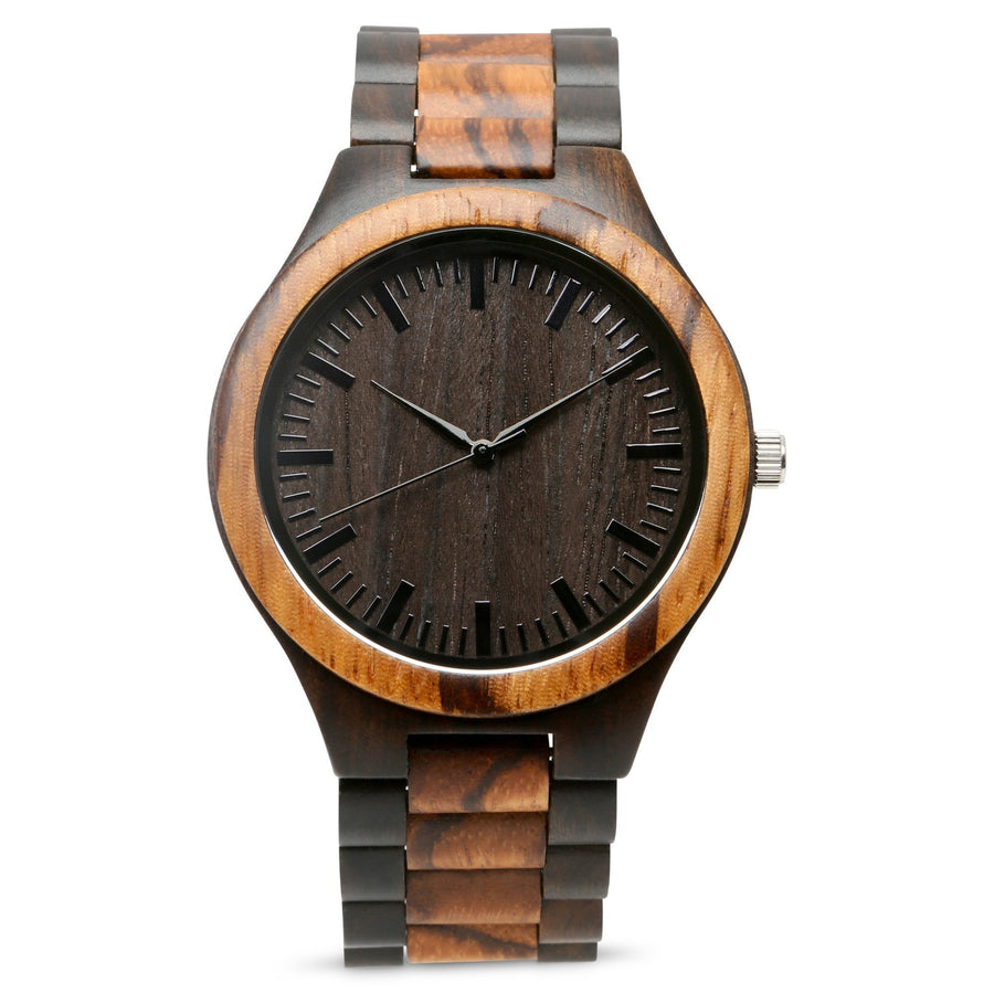 The Ridge Zebrawood + Ebony | Wood Watch Wooden Band Watches Grain and Oak