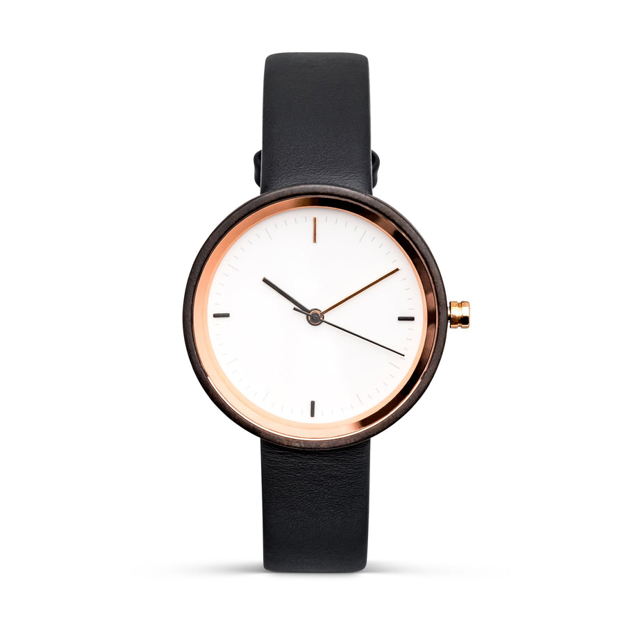 Winslet Ebony | Women's Wood Watch Leather Band Watches Grain and Oak