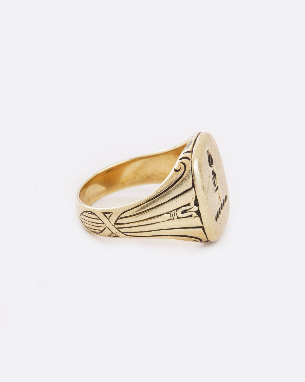 9e48371a92d06 Vintage Gold Signet Ring with Feather