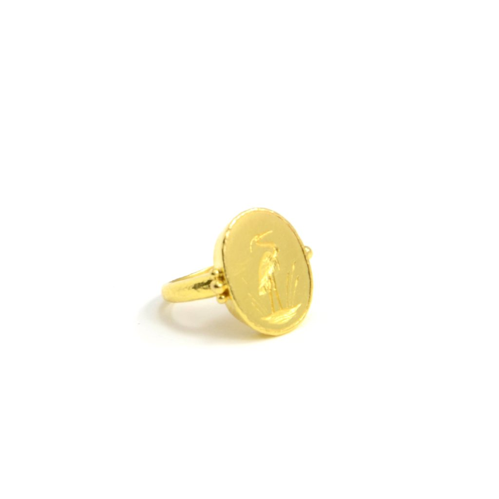 Elizabeth locke jewels. Crane intaglio ring with gold triads and narrow shank. All in 19 karat yellow gold.