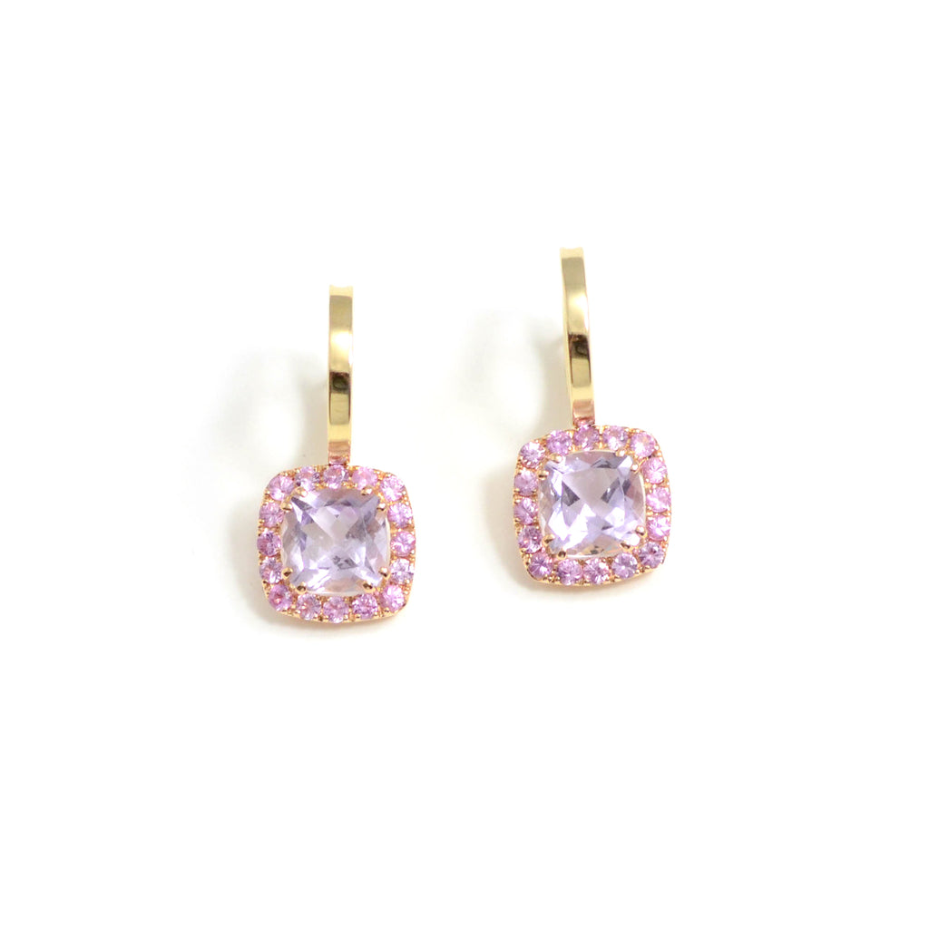 A & Furst earrings. A fun and wearable modern version of the stud. 18 karat yellow gold hoops feature square cushion cut Rose de France surrounded by round pink sapphires.