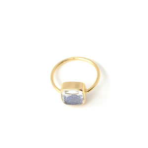 moritz glik blue sapphire and yellow gold shake ring. detail shot