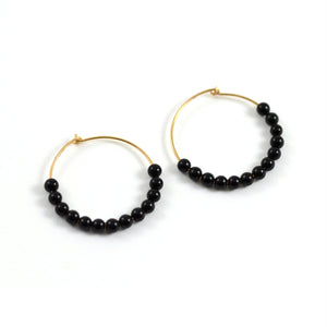 Ginette NY Earrings Hoops Rose Gold Onyx Beads