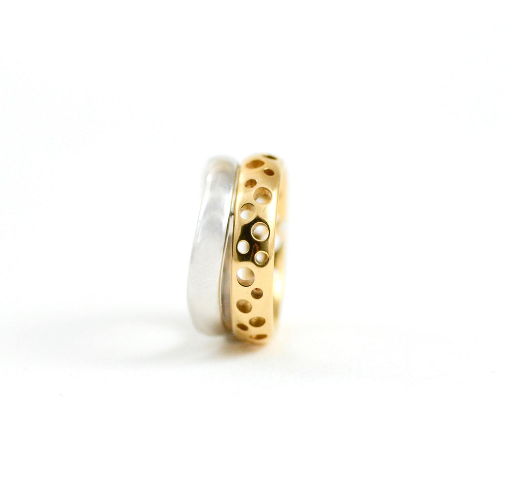 Milano Double Band Ring in White and Rose Gold