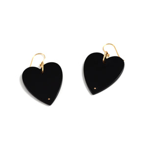ginette ny angele jumbo heart earrings in onyx or 18kt rose gold. Sold as singles to mix and match.