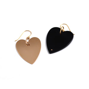 ginette ny angele jumbo heart earrings in onyx and 18kt rose gold. Sold as singles to mix and match.