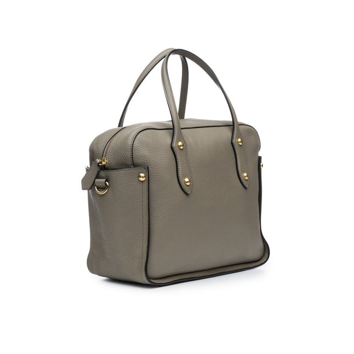 "Annabel Ingall Clementine Satchel in Bone pebbled leather.  Measures 12"" L x 10"" H x 5.5"" D. Side view shown in putty."