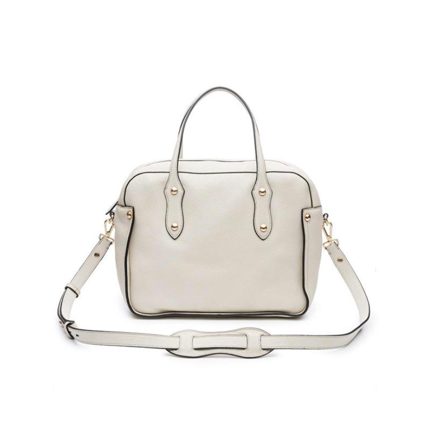 "Annabel Ingall Clementine Satchel in Bone pebbled leather.  Measures 12"" L x 10"" H x 5.5"" D. Additional views shown in putty."