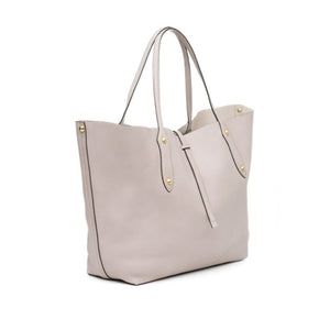 "Annabel Ingall large Isabella Tote. Mahogany pebbled leather. Measures  22""W x 13""H x 5.5""D with a 9"" handle drop. Side view shown in koala."