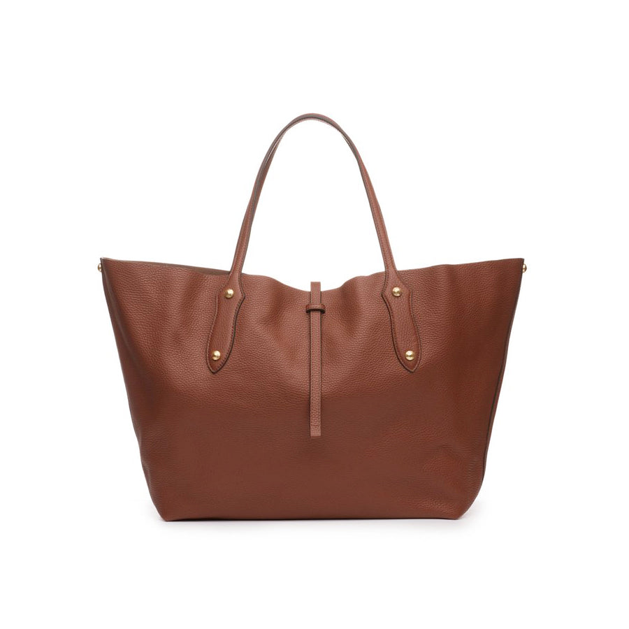 "Annabel Ingall large Isabella Tote. Mahogany pebbled leather. Measures  22""W x 13""H x 5.5""D with a 9"" handle drop."