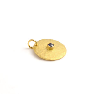 Large Gold Disk Pendant with Blue Sapphire