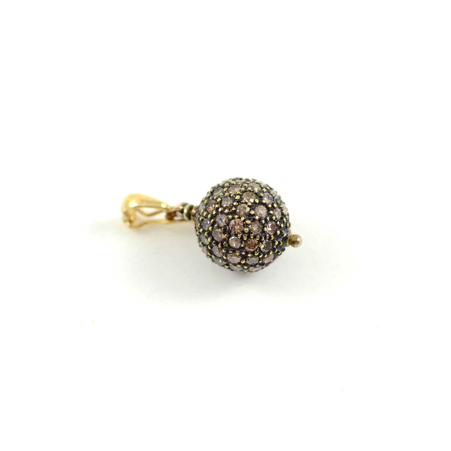 Blackened Gold Orb Pendant with Champagne Diamonds