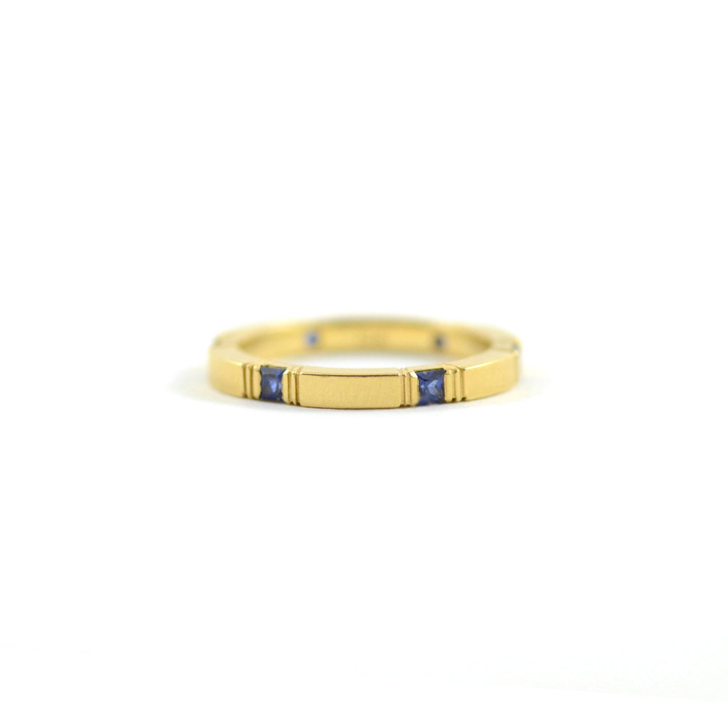 Dawes Design Ring Sapphire Square Eternity Band 18 Karat Yellow Gold