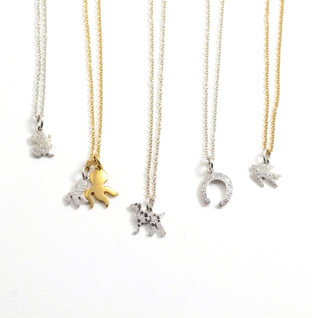 DoDo diamond and gold charm necklaces
