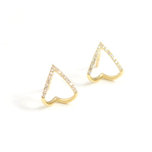chevron 14kt gold and diamond huggies earrings on post with clutch back