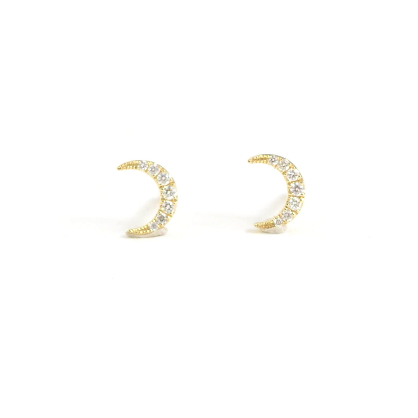 diamond crescent moon studs 14kt yellow gold
