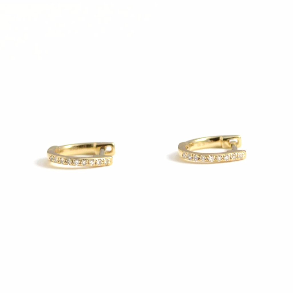 14kt yellow gold and diamond huggie earrings 13mm