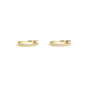 diamond mini huggies in 14kt yellow gold