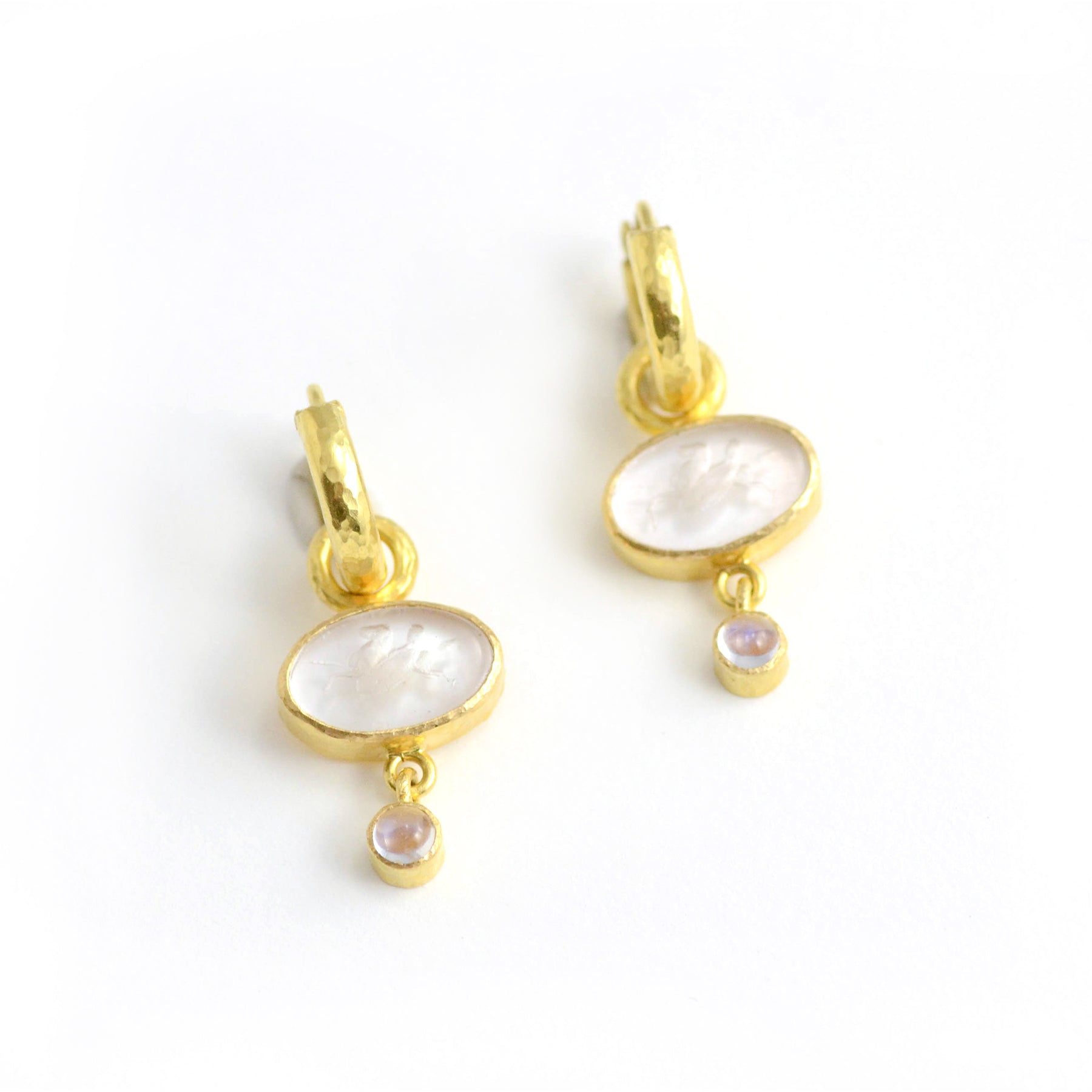 Elizabeth Locke Jewels earring pendants. The gorgeous Flying Pegasus Venetian glass intaglio earring pendants are shown with Baby Hoops. Cabochon moonstone drops finish the look.