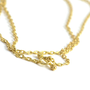 "Elizabeth Locke Jewels handmade gold chain 35"" length with toggle."
