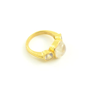 Cushion and Faceted Moonstone Ring