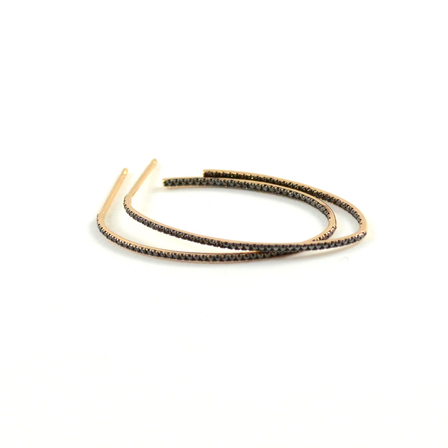 Ellipse Black Diamond Hoops