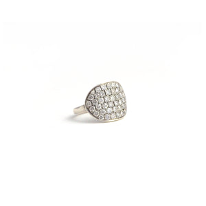 Irit silver and diamond curved disk ring.