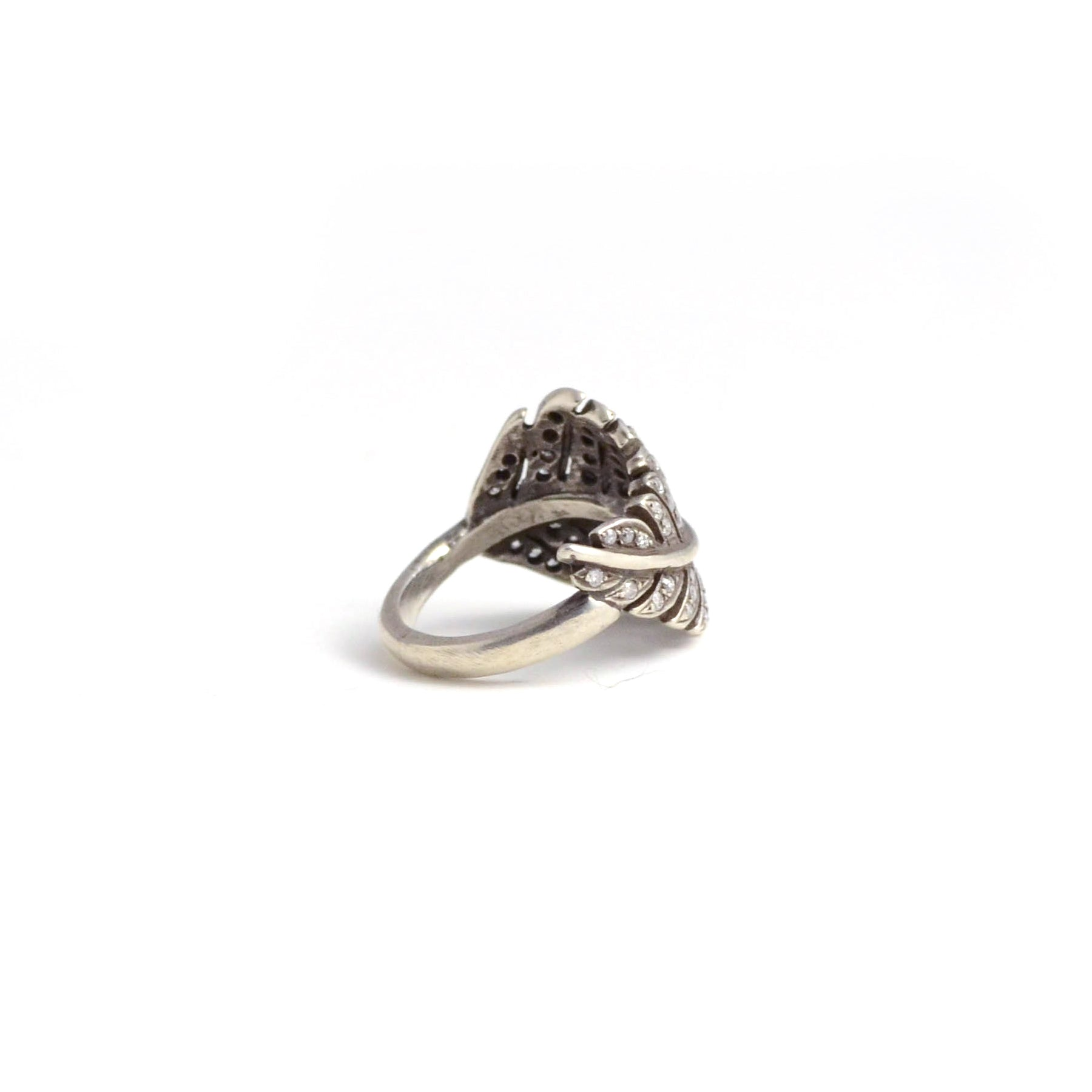 rit Design ring. A little bit vintage...a little bit edgy. Silver and diamonds give a gorgeous glow to this leaf shaped ring. Interior view.