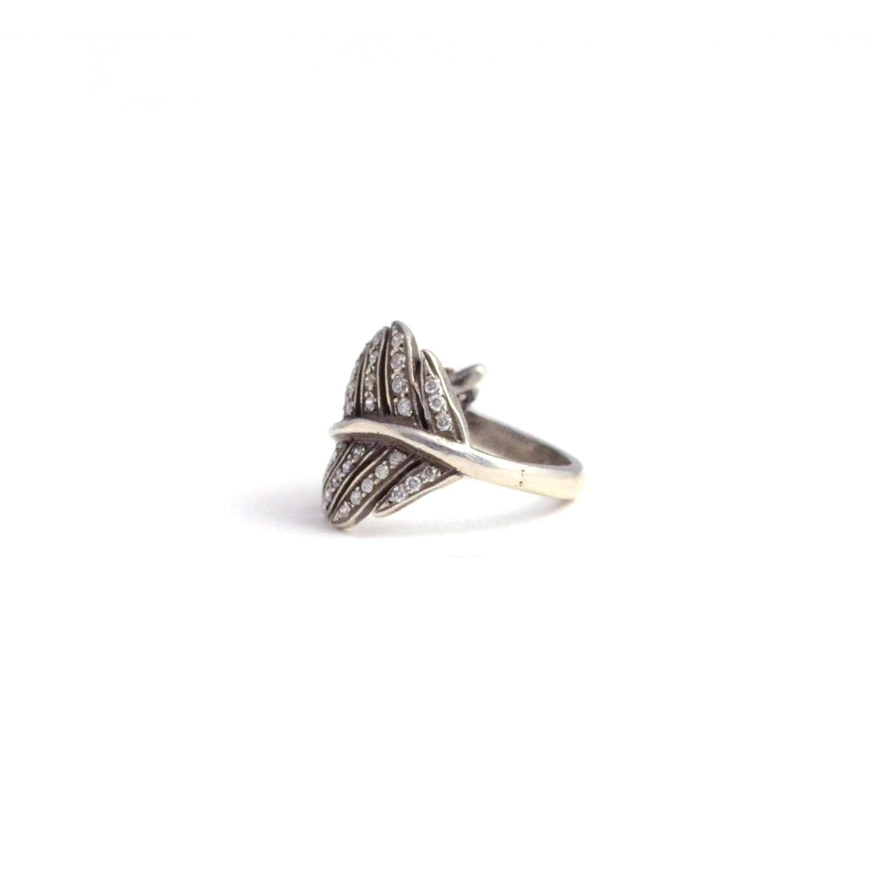 rit Design ring. A little bit vintage...a little bit edgy. Silver and diamonds give a gorgeous glow to this leaf shaped ring. side view.