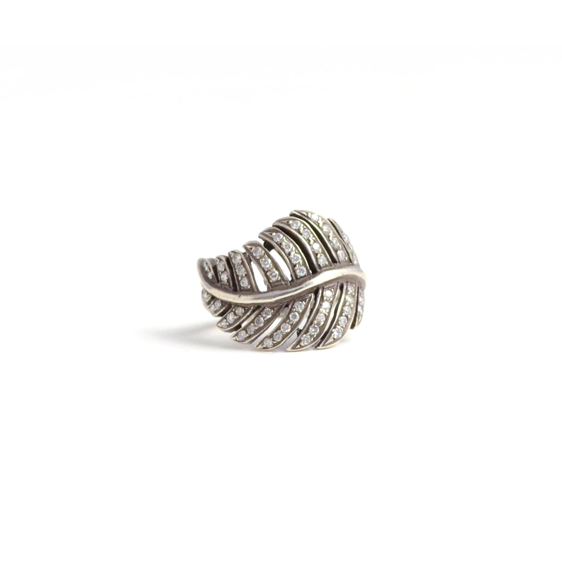 rit Design ring. A little bit vintage...a little bit edgy. Silver and diamonds give a gorgeous glow to this leaf shaped ring.