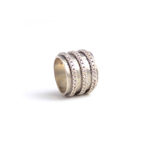 Wide Three Row Silver and Diamond Band