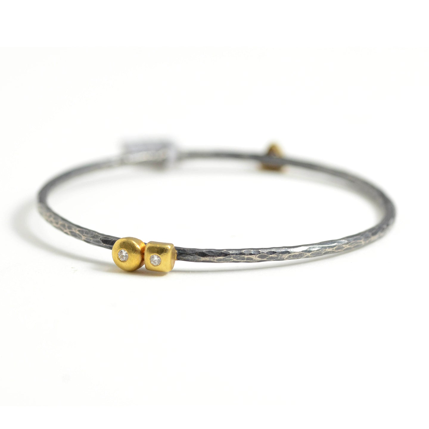 Lika Behar mixed metal bangle with golden nuggets and diamonds