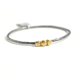 Lika Behar Collection mixed metal bracelet with bezel set diamond accents