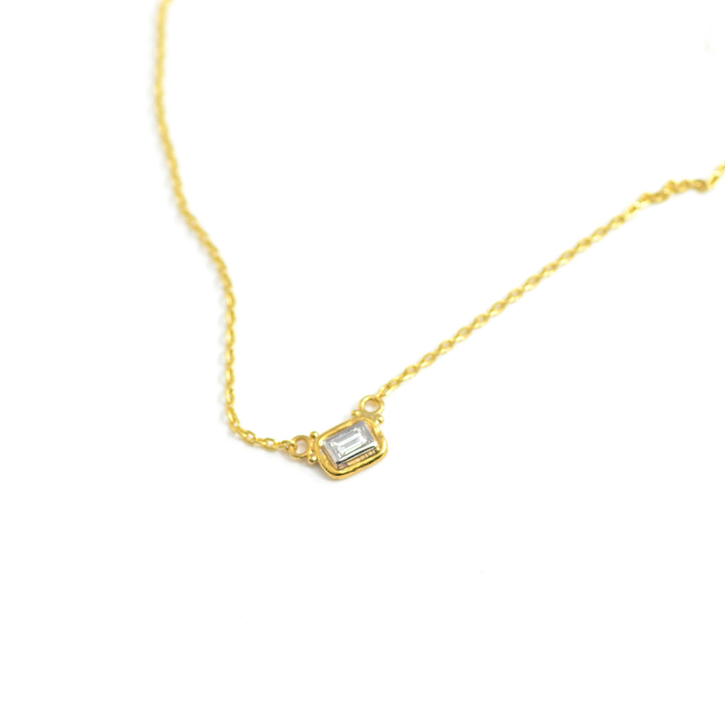 lika behar Dylan necklace. 24 karat with bezel set diamond. 15-17""