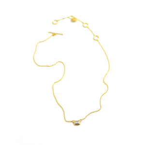 Lika behar Dylan necklace diamond baguette bezel set in 24 karat gold