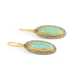 Kingman Turquoise and Cognac Diamond Earrings