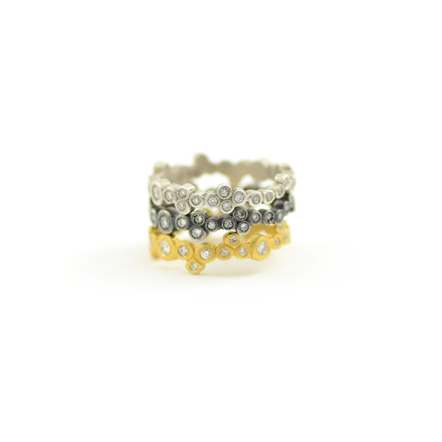 Lika Behar Ring Dylan Stackable Bands 24 Karat Yellow Gold Matte Oxidized Sterling Silver