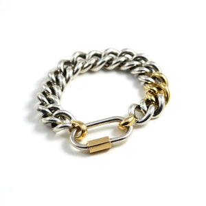 Mega Curb Bracelet in Sterling with Yellow Gold Links