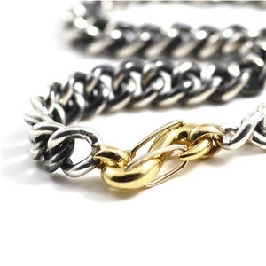 Mega Curb Chain Necklace in Silver with Yellow Gold Loops