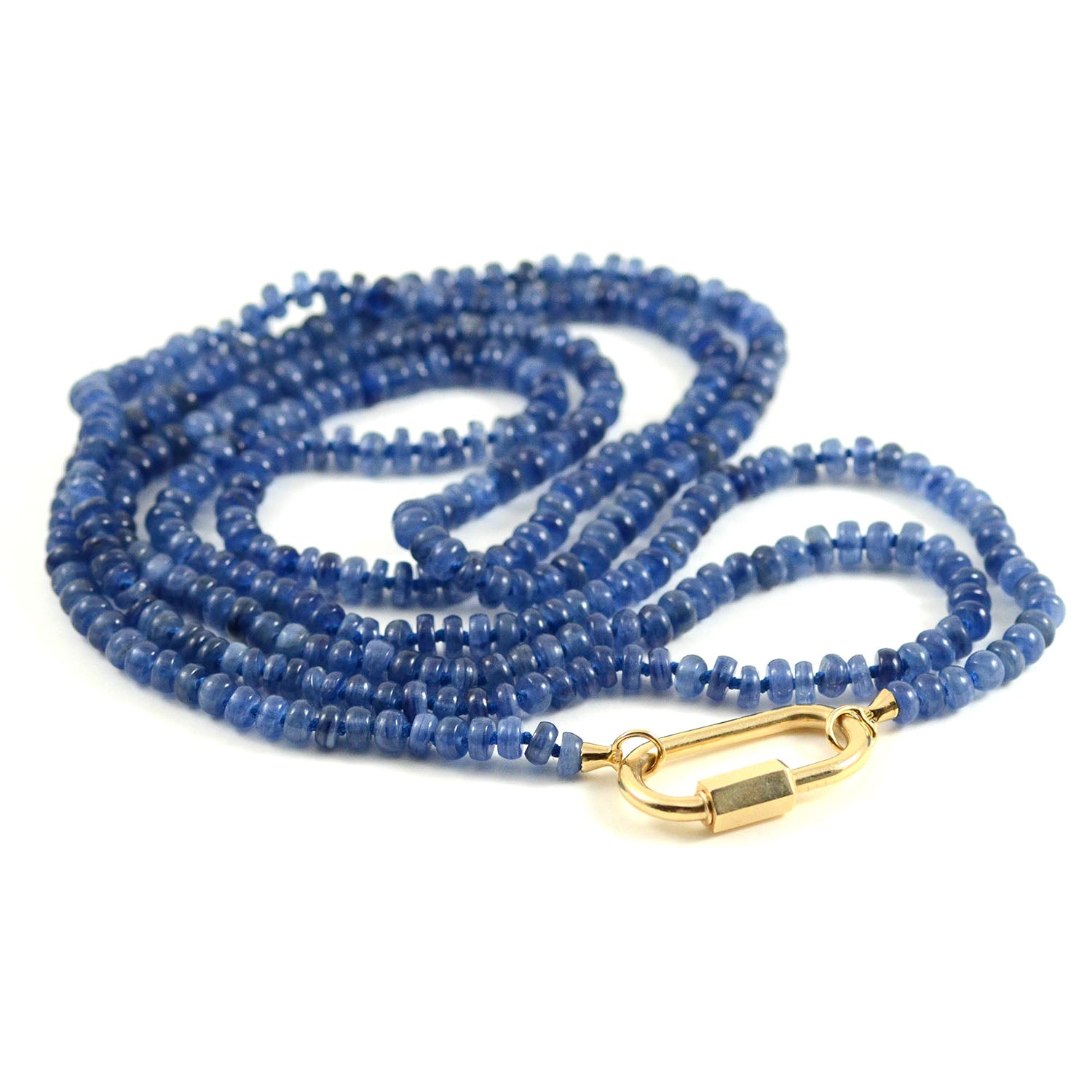 Marla Aaron Necklace Kyanite Beads Yellow Gold End Loops