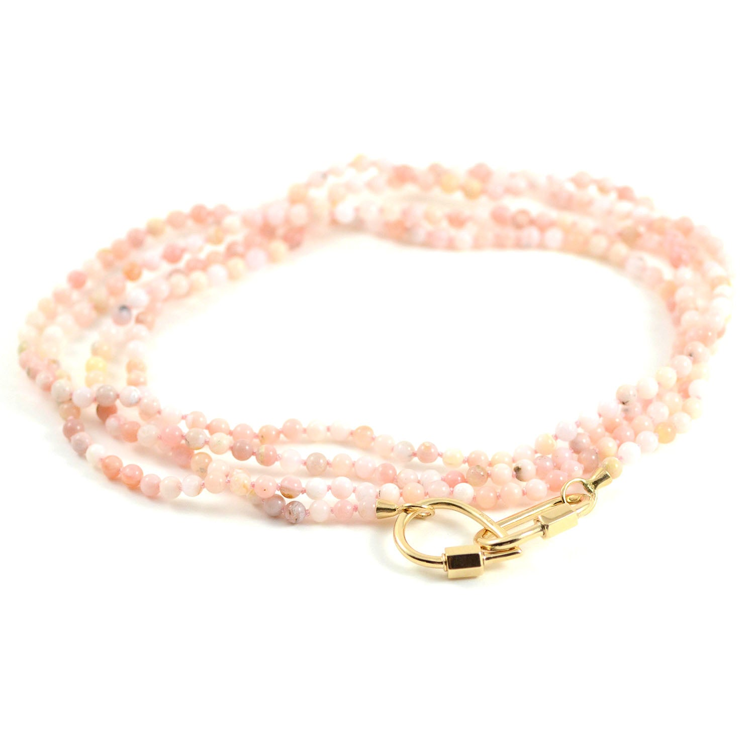 Marla Aaron Necklace Pink Opal Beaded Yellow Gold End Loops