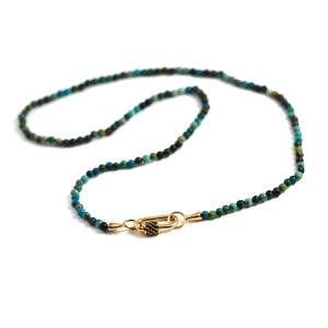 Itty Bitty Chrysocolla Strand with Yellow Gold Loops