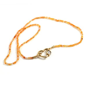 Itty Bitty Orange Agate Strand with Yellow Gold Loops