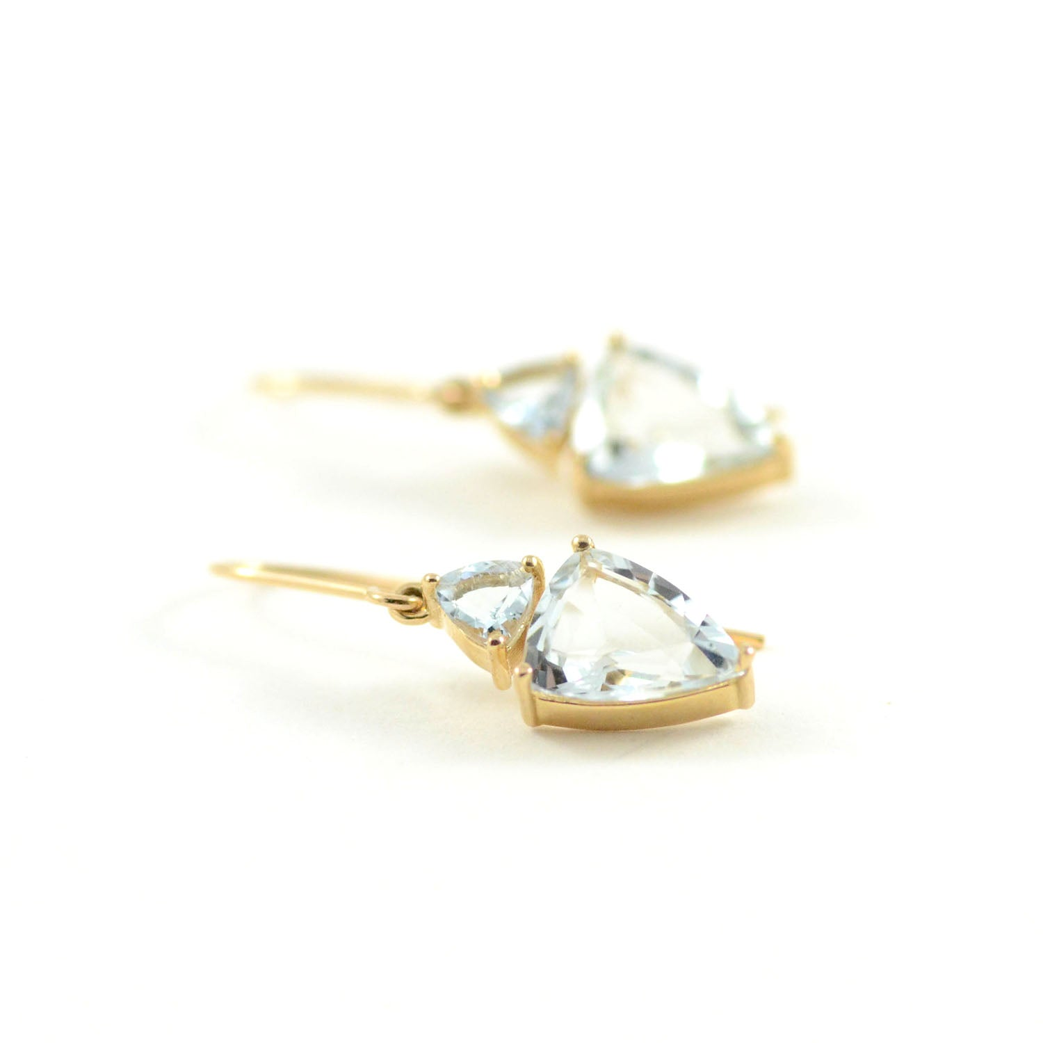 Aqua Faceted Trillion Earrings