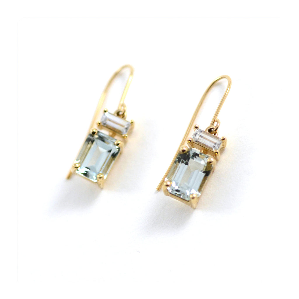 Nicole Landaw Earrings Emerald Cut Green Beryl White Sapphire Baguette 14 Karat French Wire